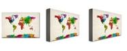 "Trademark Global Michael Tompsett 'Watercolor World Map II' Canvas Art - 32"" x 22"""