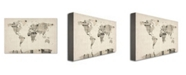 "Trademark Global Michael Tompsett 'Vintage Postcards World Map' Canvas Art - 32"" x 22"""