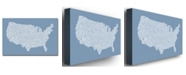 "Trademark Global Michael Tompsett 'US City Map XII' Canvas Art - 24"" x 16"""