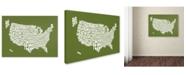 "Trademark Global Michael Tompsett 'OLIVE-USA States Text Map' Canvas Art - 24"" x 16"""
