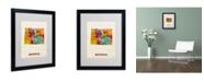 """Trademark Global Michael Tompsett 'Wyoming Map' Matted Framed Art - 20"""" x 16"""""""
