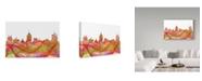 "Trademark Global Marlene Watson 'Fresno California Skyline' Canvas Art - 12"" x 19"""