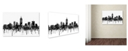 "Trademark Global Marlene Watson 'Indiana Indianapolis Skyline BW' Canvas Art - 12"" x 19"""