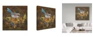"""Trademark Global Jean Plout 'Blue Bird On Demask' Canvas Art - 14"""" x 14"""""""