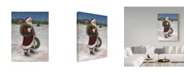 """Trademark Global Mary Miller Veazie 'Santa With Two Wreaths' Canvas Art - 14"""" x 19"""""""
