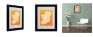 "Trademark Global Michael Tompsett 'ORANGE-Ireland Text Map' Matted Framed Art - 14"" x 11"""