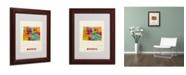 """Trademark Global Michael Tompsett 'Wyoming Map' Matted Framed Art - 14"""" x 11"""""""