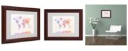 "Trademark Global Michael Tompsett 'Poltical Watercolor Map' Matted Framed Art - 14"" x 11"""