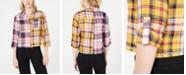Crave Fame Juniors' Two-Tone Button-Front Flannel Shirt