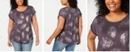 Style & Co Plus Size Printed Cuffed-Sleeve T-Shirt, Created for Macy's
