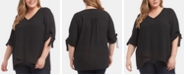 Karen Kane Plus Size Elbow-Sleeve Crossover-Hem Top