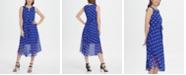 DKNY Keyhole Polka-Dot Printed Chiffon Midi Dress
