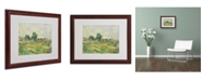 "Trademark Global Paul Cezanne 'Landscape Near Paris 1876' Matted Framed Art - 20"" x 16"""