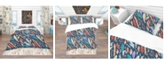 Design Art Designart 'Leaves And Feathers Pattern' Southwestern Duvet Cover Set - King