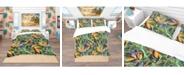 Design Art Designart 'Tropical Pattern With Exotic Flowers' Tropical Duvet Cover Set - Queen