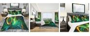 Design Art Designart 'Fire Green Abstract' Modern and Contemporary Duvet Cover Set - King