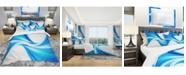 Design Art Designart 'Peaceful Blue Flowing Through' Modern and Contemporary Duvet Cover Set - King