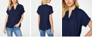 Charter Club Petite Split-Neck Short-Sleeve Top, Created for Macy's