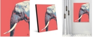 """Creative Gallery Graphic Elephant to The Right on Light Red Portrait Metal Wall Art Print - 16"""" x 20"""""""