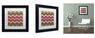 "Trademark Global Color Bakery 'Xmas Chevron 7' Matted Framed Art - 11"" x 11"""
