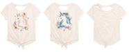 Beautees Big Girls Tie-Front Unicorn Flip Sequin T-Shirt