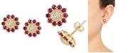 Macy's Certified Ruby (1  ct. t.w) & Diamond (1/10 ct. t.w.) Floral Stud Earrings in 14k Gold