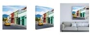 "Trademark Global Philippe Hugonnard Viva Mexico 3 Oaxaca Street with Yellow Taxi Canvas Art - 15.5"" x 21"""