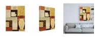 "Trademark Global Pablo Esteban Leaves and Vase on Squares Canvas Art - 15.5"" x 21"""