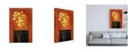"Trademark Global Pablo Esteban Yellow Flowers on Orange Canvas Art - 36.5"" x 48"""