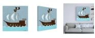 "Trademark Global June Erica Vess Ahoy! Childrens Art Canvas Art - 15.5"" x 21"""