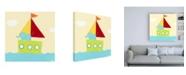 "Trademark Global June Erica Vess Sailboat Adventure IV Canvas Art - 36.5"" x 48"""