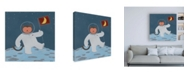 "Trademark Global June Erica Vess Monkeys in Space III Canvas Art - 15.5"" x 21"""