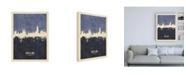 "Trademark Global Michael Tompsett Barcelona Spain Skyline Navy Canvas Art - 15.5"" x 21"""