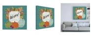 "Trademark Global Janelle Penner Thankful III Turquoise Leaves Canvas Art - 36.5"" x 48"""