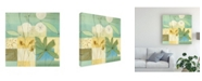 "Trademark Global Pablo Esteban Flowers and Pastel Squares Canvas Art - 15.5"" x 21"""
