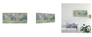 "Trademark Global Pablo Esteban Blue Flowers Over Gray 2 Canvas Art - 15.5"" x 21"""