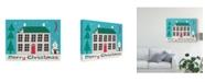 "Trademark Global Michael Mullan Jolly Holiday Home on Blue Merry Christmas Canvas Art - 15"" x 20"""