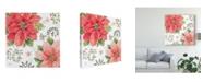 "Trademark Global Daphne Brissonnet Country Poinsettias III Canvas Art - 15"" x 20"""