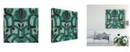 "Trademark Global June Erica Vess Turquoise Mosaic I Canvas Art - 15"" x 20"""