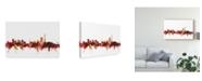 "Trademark Global Michael Tompsett Johannesburg South Africa Skyline Red Canvas Art - 37"" x 49"""