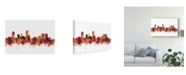 "Trademark Global Michael Tompsett Wellington New Zealand Skyline Red Canvas Art - 37"" x 49"""