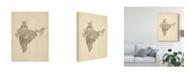 "Trademark Global Michael Tompsett Old Sheet Music Map of India Canvas Art - 20"" x 25"""