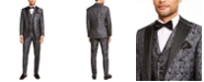 Tallia Men's Charcoal Floral Suit Separates