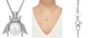 """Macy's Cultured Freshwater Pearl (8-1/2mm) & White Topaz (1/4 ct. t.w.) Insect 17"""" Pendant Necklace in Sterling Silver"""