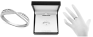 Macy's Diamond (1/10 ct. t.w.) Bypass Band Ring in Sterling Silver
