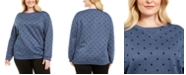 Karen Scott Plus Size Dotted Fleece Crewneck Top, Created for Macy's