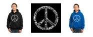 LA Pop Art Boy's Word Art Hoodies - The Word Peace in 77 Languages