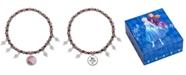 Disney Children's Anna & Elsa Hematite Bead & Crystal Charm Stretch Bracelet in Sterling Silver