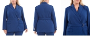 Calvin Klein Plus Size Belted Peak-Lapel Blazer