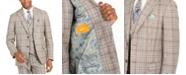 Tallia Orange Men's Slim-Fit Brown Plaid Flannel Suit Jacket